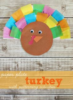 Paper Plate Turkey Craft with Patterning Activities @Rachael E E Waldo's #elmersacademy