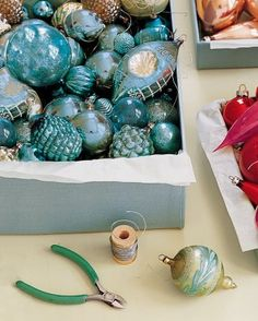 Choose simple ornaments to create a backdrop for more ornate antiques, as well as homemade, sentimental favorites.