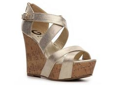 G BY GUESS Prinzess Metallic Wedge Sandal High Heel Sandal Shop Women's Shoes - DSW