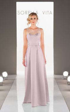 Discover elegant floor length satin bridesmaid dresses featuring a lace illusion neckline with detachable satin fabric sash.