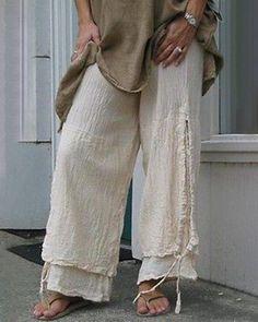 US$ 30.99 - Women Casual Cotton & Linen Solid Color Pants - www.dressisi.com Cotton Pants, Linen Pants, Linen Blouse, Trouser Outfits, Drawstring Pants, Beige, Striped Linen, Plus Size Women, Cotton Linen