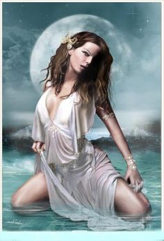 ...awash in a tidal dance...  Moon Goddess #moon #luna #selene #goddess #ocean #pagan #wicca