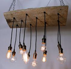 Reclaimed Walnut Barnwood Chandelier with Edison by urbanchandy, $875.00 -Make w/ old chopping block?