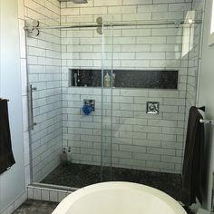 Bathroom Niche, Shower Niche, Small Bathroom, Bathroom Ideas, Master Bathroom Shower, Upstairs Bathrooms, Cottage Showers, Shower Backsplash, Frameless Shower Doors