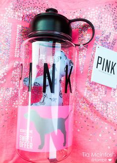 I remember buying this water bottle, but I have no idea where it is and Im not sure where I could have misplaced it. Pink Water Bottle, Cute Water Bottles, Pink Love, Vs Pink, Pretty In Pink, Victoria's Secret Pink, The Secret, Cute Cups, Perfume