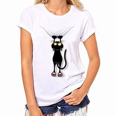 casual short sleeve O-neck women's cat t shirt