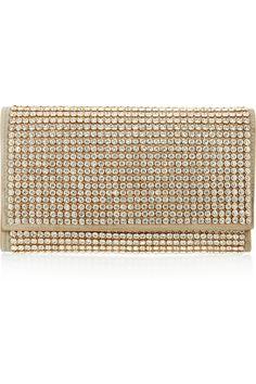 Jil Sander Marivaux crystal-embellished brushed-leather clutch NET-A-PORTER.COM