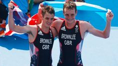 August 19 2016 - Great Britain's Alistair and Jonny Brownlee celebrate after picking up gold and silver in the men's triathlon at Rio2016