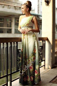 One-shoulder Draping Empire Blossom Long Evening Dancing Dress