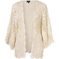 Hand Crochet Flower Kimono ($95) ❤ liked on Polyvore featuring cardigans, jackets, outerwear, tops, kimono and women