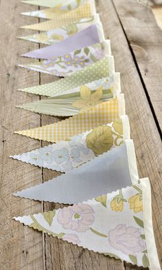 Springtime - Vintage Bunting Banner with 12 Flags. $25.00, via Etsy.