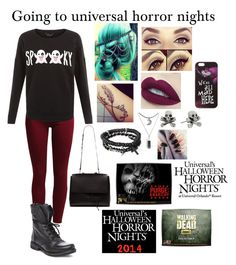 """""""Going to universal horror nights """" by tiffany-london-1 ❤ liked on Polyvore featuring Sisley, Steve Madden, Topshop, King Baby Studio, Icon and Disney"""