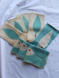 Vtg 1960's Vera Mid Century Mod Turquoise Linens Dinner Lunch Napkins