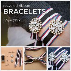 DIY Recycled Ribbon Bracelet by Trinkets in Bloom