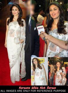 Kareena Kapoor White Net Designer Party Wear Saree