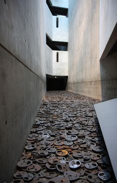 The most moving place I have ever been - the Jewish Museum in Berlin. This is the bit that I really remember - the 'Fallen Leaves' installation.
