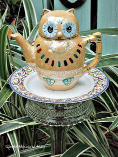 Owl Teapot Garden Totem Stake / Garden by GardenWhimsiesByMary