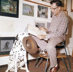 Frank Thomas working out poses for Pongo - One Hundred And One Dalmatians