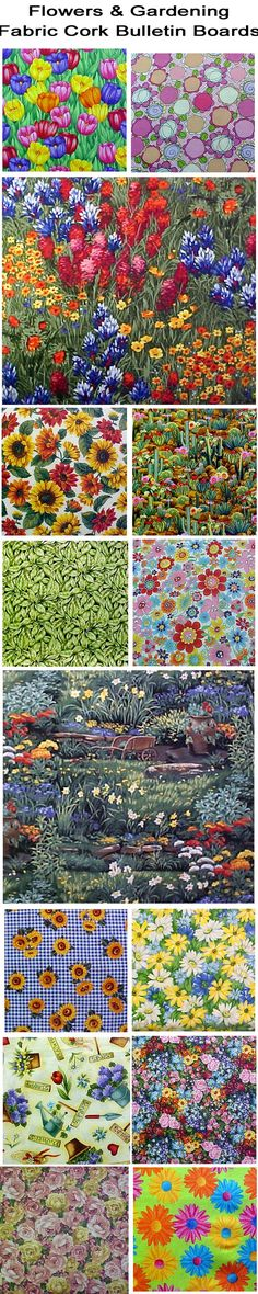 FABRIC CORK BULLETIN BOARDS. Just an example of some fabrics available in FLOWERS & GARDENS at  awww.PushPinsAndFabricCorkBoards.com  to make a custom, unique BULLETIN BOARD to match your decor, as a gift to someone who loves the flowers. Boards are available four standard sizes, with or without message ribbons and Top it off with matching or DECORATIVE PUSH PINS in the Decorative Push Pins department. #fabriccorkbulletinboards #fabriccorkbulletinboards #flowers #gardening