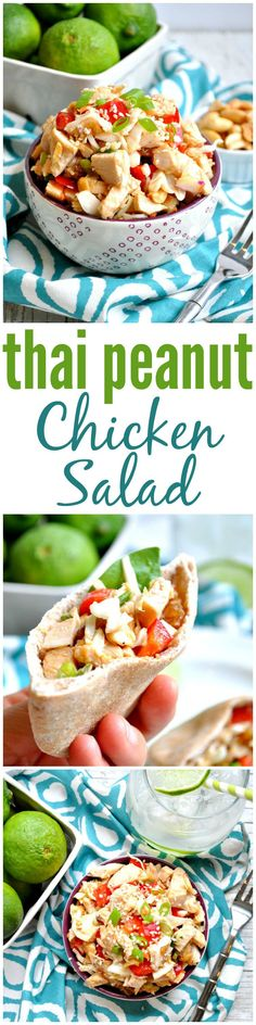 Skip the mayo in a traditional chicken salad and toss together this healthy and flavorful Thai Peanut Chicken Salad! It's an easy make-ahead lunch or dinner option!