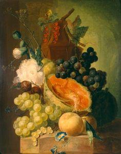 Jan van Os: stilleven met vruchten. 1770. Museum Bredius, Den Haag. Naar voorbeeld van de bloemstukken van Jan van Huysum(1682-1749), maar Van Os is iets kleuriger en minder conventioneel.