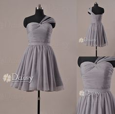 I love this dress except for Pink or Yellow maybe even orange.... Short Grey Bridesmaid DressCustom Light Gray by DaisyBridalHouse, $85.00
