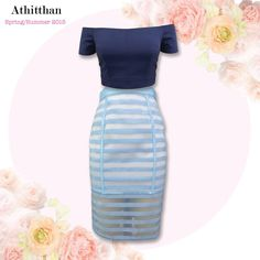 Iris Navy Crop Top with Freesia Stripe Blue Skirt, is just one of Athitthan's newest looks for Spring/Summer Collection 2015