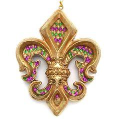 Fleur De Lis Ornament Purple Green & Gold