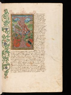 A medieval view of the city of Bern. On the left, a floral decoration ornates the border. #manuscript #illumination #border #parchment #switzerland