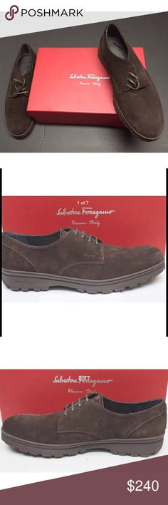 SALVATORE FERRAGAMO -  OXFORD Brown Suede 10.5 Brand: Salvatore Ferragamo Style/Cat.No/Model: 0594833 COLOR:Bitter Chocolate Brown SIZE: USA: 10.5 D
