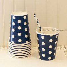 Paper Cups, 10 Navy Polka Dot Paper Cups, Navy Paper Cups, Nautical Drink Cups, Preppy Party Cups, Navy Drink Cups, Navy Wedding, Navy Party
