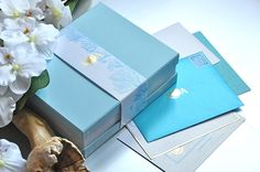 Ocean blue, sea wedding invitation & stationary Wedding Invitation Design, Stationary, Decorative Boxes, Gift Wrapping, Ocean, Gifts, Blue, Wedding On The Beach, Gift Wrapping Paper