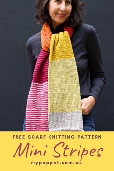 Now that the weather is cooling down and the evenings are getting longer, it's the perfect time to start knitting a colourful cosy scarf to brighten up your winter days. I've got an easy scarf knitting pattern that you are going to love. Easy Scarf Knitting Patterns, Knitting Designs, Free Knitting, Yarn Colors, Colours, Yarn Color Combinations, Easy Crafts To Sell, Diy Wedding On A Budget, Diy Holiday Gifts