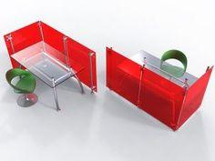 Schreibtisch Trennwand Raumteiler Acrylglas rot