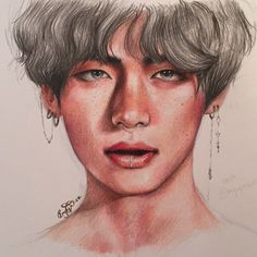aaaand I'm back with yet another Taetae fanart :)) this is done with polychromos coloured pencils an Taehyung Fanart, Bts Taehyung, Bts Drawings, Random Drawings, Bts Art, Korean Drama Best, Coloured Pencils, Kpop Fanart, Taekook