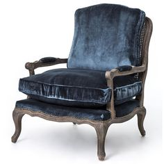 Sasha Blue Velvet French Style Oak Bergere Arm Chair ($1,449) ❤ liked on Polyvore featuring home, furniture, chairs, accent chairs, blue, decor, fillers, blue arm chair, blue velvet chair and velvet armchair