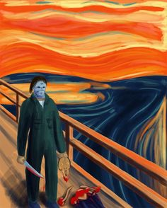 Etsy の Michael Myers versus the Scream Guy by newbpainter Halloween Movies, Scary Movies, Horror Movies, Halloween Art, Funny Horror, Creepy Horror, Halloween Stuff, Happy Halloween, Space Ghost