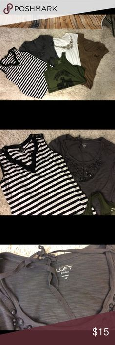 👚5 TOP BUNDLE 👚5 for $15.00 THEY MUST GO!! White House black-market size medium striped top with button detail on shoulders 3 Loft T-shirts with embellishment 2 or size medium one is a large 1 Hurley tank top size large White house black market loft and Hurley Tops Tees - Short Sleeve