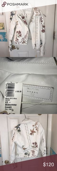 """BlankNYC white leather jacket XS """"midsummer dream"""" BlankNYC white leather #embroidered jacket XS """"midsummer dream"""" original $168 with tags from South Moon Under. brand new. Blank NYC Jackets & Coats"""