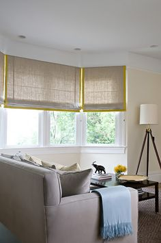 Love these soft linen blinds with a splash of colour