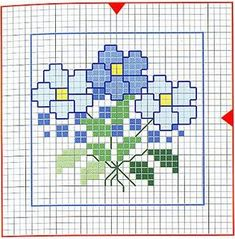 (^_^) Free download - blue flowers. Our Cross Stitch!