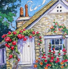 "Daily Paintworks - ""Friendly Doorway Storybook Cottage Series"" - Original Fine Art for Sale - © Alida Akers"