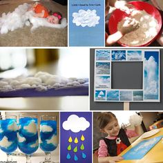 10 Ways To Have Fun With Clouds from Modern Parents Messy Kids. Love the blue jello w/ whip cream Preschool Weather, Weather Crafts, Weather Activities, Science Activities, Science Projects, Classroom Activities, Preschool Activities, Science Experiments, Teaching Weather