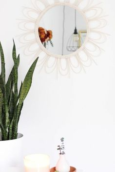 The rattan furniture trend is out in full force and I am on board with it. Rattan chairs, headboards, and bags, I'll take one of each please! Rope Mirror, Mirror With Hooks, Diy Mirror, Metal Desk Makeover, Diy Concrete Planters, Garden Shelves, Starburst Mirror, Giant Paper Flowers, Rattan Chairs