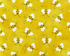 Honey BEE Fabric By the Yard / Half Yard Whimsical Summer Bees Insect Bumble Bee Yellow Honeybee Cotton Quilting Apparel Fabric BTY w8/31
