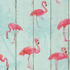 Papel pintado imitación madera con flamenco rosa PDW9479706-24 imágenes