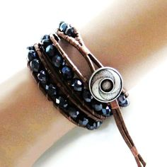 Midnight Blue Crystal Beaded Leather Wrap Bracelet x3wrap, Handmade