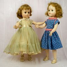 American Character Sweet Sue Walker 18 inch and her 17 inch cousin, 4 Vintage Outfits