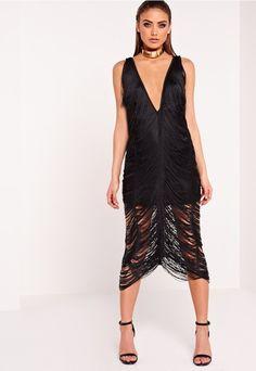 Pin for Later: 99 Robes Rétro Pour Une Soirée à Thème Great Gatsby  Missguided Robe mi-longue noire à franges Peace + Love (73€)