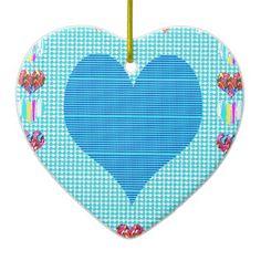Sweet Heart Blue Christmas Ornaments